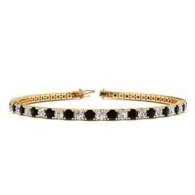 2 1/4 Carat Black And White Diamond Tennis Bracelet In 14 Karat Yellow Gold, 6 Inches