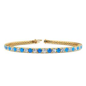 3 Carat Blue Topaz And Diamond Tennis Bracelet In 14 Karat Yellow Gold, 6 1/2 Inches