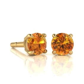 1 Carat Round Shape Citrine Stud Earrings In 14K Yellow Gold Over Sterling Silver