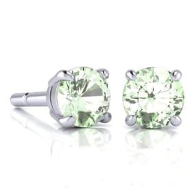 2 Carat Round Shape Green Amethyst Stud Earrings In Sterling Silver