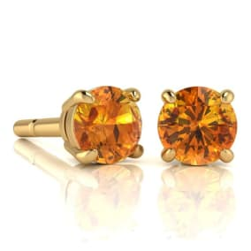 2 Carat Round Shape Citrine Stud Earrings In 14K Yellow Gold Over Sterling Silver