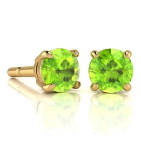 2 1/4 Carat Round Shape Peridot Stud Earrings In 14K Yellow Gold Over Sterling Silver