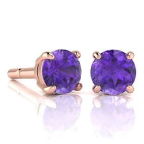 2 Carat Round Shape Amethyst Stud Earrings In 14K Rose Gold Over Sterling Silver
