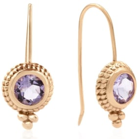 2 Carat Amethyst Dangle Earrings With Rope Detail In 14K Rose Gold Over Sterling Silver