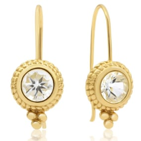1 3/4 Carat Aquamarine Dangle Earrings With Rope Detail In 14K Yellow Gold Over Sterling Silver
