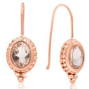 2 1/3 Carat Oval Morganite Dangle Earrings With Rope Detail In 14K Rose Gold Over Sterling Silver