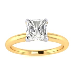 3/4ct Radiant Cut Diamond Solitaire Engagement Ring In 14K Yellow Gold