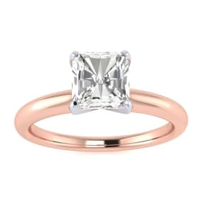 3/4ct Radiant Cut Diamond Solitaire Engagement Ring In 14K Rose Gold