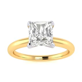 1ct Radiant Cut Diamond Solitaire Engagement Ring In 14K Yellow Gold