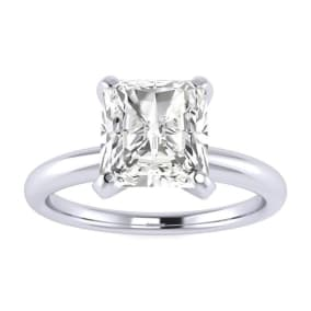 1 1/2ct Radiant Cut Diamond Solitaire Engagement Ring In 14K White Gold