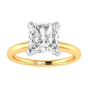 1 1/2ct Radiant Cut Diamond Solitaire Engagement Ring In 14K Yellow Gold