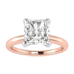 1 1/2ct Radiant Cut Diamond Solitaire Engagement Ring In 14K Rose Gold