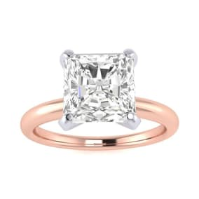 2ct Radiant Cut Diamond Solitaire Engagement Ring In 14K Rose Gold
