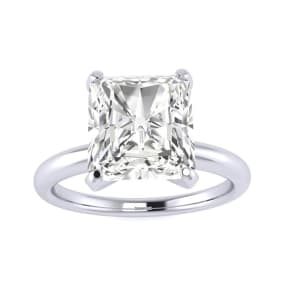 2 1/2ct Radiant Cut Diamond Solitaire Engagement Ring In 14K White Gold