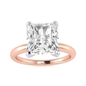 2 1/2ct Radiant Cut Diamond Solitaire Engagement Ring In 14K Rose Gold