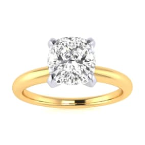 1 1/2ct Cushion Cut Diamond Solitaire Engagement Ring In 14K Yellow Gold