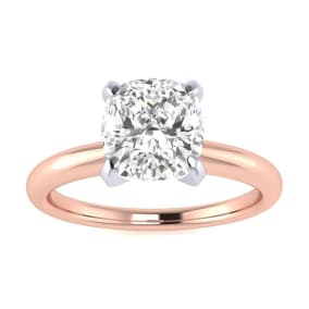 1 1/2ct Cushion Cut Diamond Solitaire Engagement Ring In 14K Rose Gold