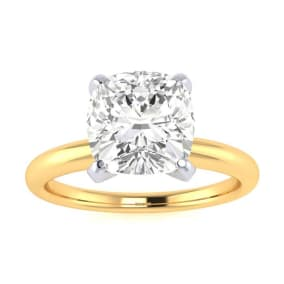 2ct Cushion Cut Diamond Solitaire Engagement Ring In 14K Yellow Gold