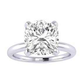 2 1/2ct Cushion Cut Diamond Solitaire Engagement Ring In 14K White Gold