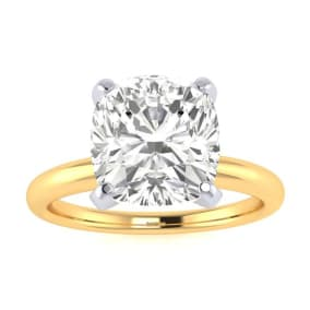 2 1/2ct Cushion Cut Diamond Solitaire Engagement Ring In 14K Yellow Gold