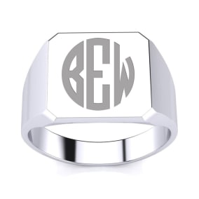 14K White Gold Mens Octagon Signet Ring With Free Custom Engraving
