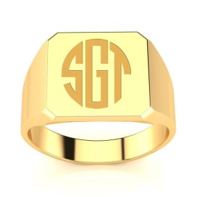 14K Yellow Gold Mens Octagon Signet Ring With Free Custom Engraving