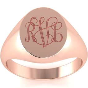14K Rose Gold Mens Oval Signet Ring With Free Custom Engraving