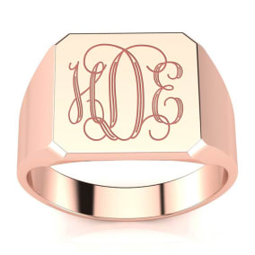 14K Rose Gold Mens Octagon Signet Ring With Free Custom Engraving