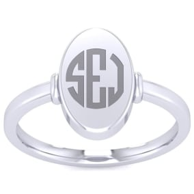 14K White Gold Ladies Oval Signet Ring With Free Custom Engraving