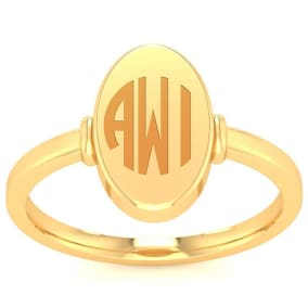 14K Yellow Gold Ladies Oval Signet Ring With Free Custom Engraving