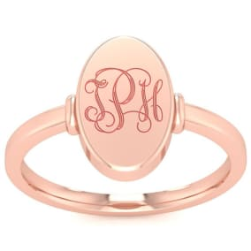 14K Rose Gold Ladies Oval Signet Ring With Free Custom Engraving