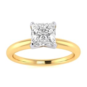 3/4ct Princess Cut Diamond Solitaire Engagement Ring In 14K Yellow Gold