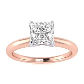 3/4ct Princess Cut Diamond Solitaire Engagement Ring In 14K Rose Gold