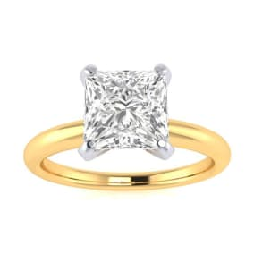 1 1/2ct Princess Cut Diamond Solitaire Engagement Ring In 14K Yellow Gold