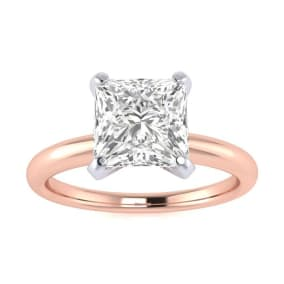 1 1/2ct Princess Cut Diamond Solitaire Engagement Ring In 14K Rose Gold