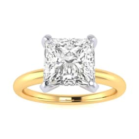 2ct Princess Cut Diamond Solitaire Engagement Ring In 14K Yellow Gold