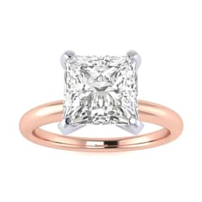 2ct Princess Cut Diamond Solitaire Engagement Ring In 14K Rose Gold