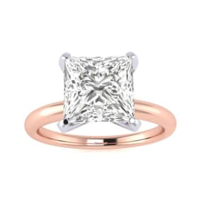 2 1/2ct Princess Cut Diamond Solitaire Engagement Ring In 14K Rose Gold