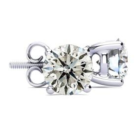 4 Carat Round Diamond Stud Earrings In 14 Karat White Gold