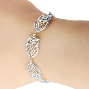 Diamond Accent Owl Adjustable Bolo Bracelet In Platinum Overlay, Fits 7 Inch, 7.5 Inch, 8 Inch, 8.5 Inch Wrists!  So Wonderful!