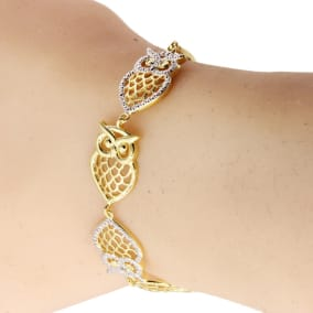 Diamond Accent Owl Adjustable Bolo Bracelet In Yellow Gold Overlay, 7-10 Inches