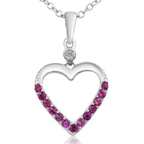 Wonderful 13 Ruby and Diamond Heart Necklace In Sterling Silver, 18 Inches