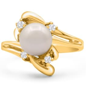Round Freshwater Cultured Pearl and 1/10ct Diamond Ring In 14 Karat Yellow Gold