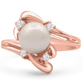Round Freshwater Cultured Pearl and 1/10ct Diamond Ring In 14 Karat Rose Gold