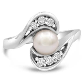 Round Freshwater Cultured Pearl and 1/5ct Diamond Ring In 14 Karat White Gold