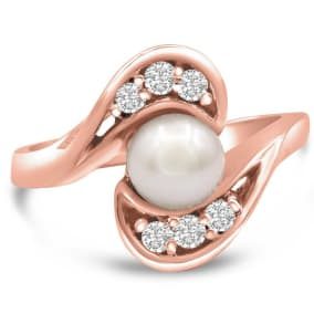 Round Freshwater Cultured Pearl and 1/5ct Diamond Ring In 14 Karat Rose Gold