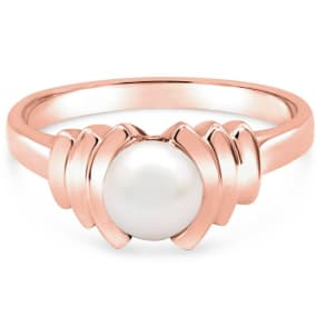 Round Freshwater Cultured Pearl Ring In 14 Karat Rose Gold