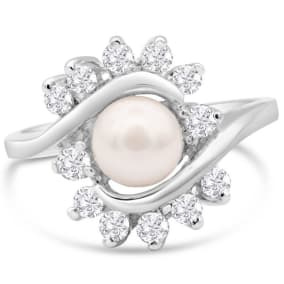 Round Freshwater Cultured Pearl and 1/2 Carat Halo Diamond Ring In 14 Karat White Gold