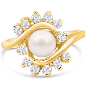 Round Freshwater Cultured Pearl and 1/2 Carat Halo Diamond Ring In 14 Karat Yellow Gold
