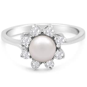 Round Freshwater Cultured Pearl and 1/3 Carat Halo Diamond Ring In 14 Karat White Gold